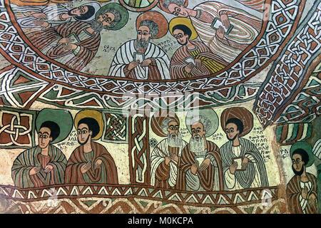 Cupola con Apostels, affresco nella chiesa ortodossa rupestri chiesa Abuna Yemata, Gheralta regione Tigray, Etiopia Foto Stock