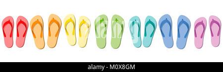 Il flip flop - estate colorate pantofole, simbolico per viaggi di gruppo, team, amici o per una vacanza con la famiglia. Foto Stock