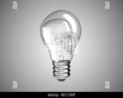 Cranio all'interno della lampadina - salute o di morte e malattia in grigio Foto Stock