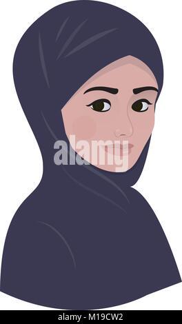 Ritratto di arabo e musulmano bella donna in viola scuro hijab sciarpa. Foto Stock