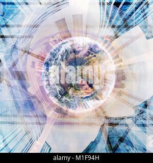 Industria astratta sfondo stereografica collage- elementi di questa immagine fornita dalla NASA Foto Stock