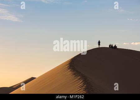 Persone in silhouette Khongor sulle dune di sabbia nel Gobi Gurvan Saikhan National Park, Sevrei distretto, a sud della provincia di Gobi, Mongolia, Asia Centrale, Asia Foto Stock