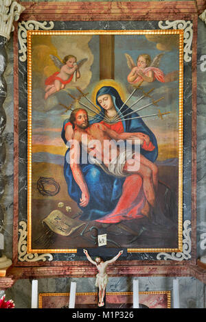 Mostra di pittura di scena biblica del crucification,Koglmoos altare della cappella,Gallzein,Alto Adige,Austria Foto Stock
