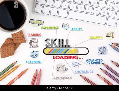 Specialità, il concetto di affari. Grafico con le parole chiave e le icone. White scrivania in ufficio Foto Stock
