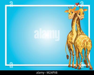 Il design del telaio con due giraffe illustrazione Foto Stock