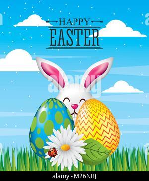 Felice Pasqua il messaggio di saluto della scheda decorazione di invito Foto Stock