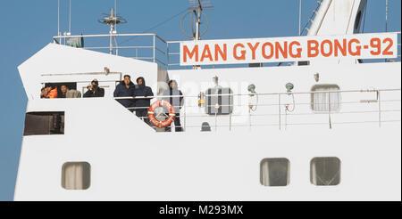 Tonghae, Mukho porta in Corea del sud della costa orientale. 6 febbraio, 2018. Il traghetto passeggeri Mangyongbong Foto Stock
