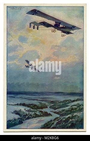Vecchia cartolina tedesca biplano militare su un volo di ricognizione sopra la foresta di argon. La prima guerra Foto Stock
