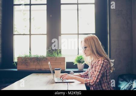 Profilo lato a metà di fronte foto del concentrato di occupato smart clever bella donna che indossa camicia a scacchi e bicchieri, ella ha il lavoro remoto digitando su la Foto Stock
