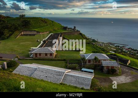 Patrimonio mondiale Unesco Brimstone Hill Fortress, Saint Kitts e Nevis, Caraibi Foto Stock