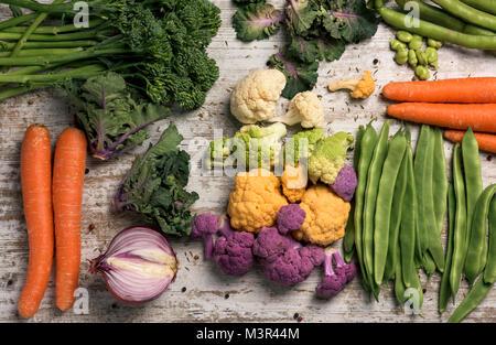 Elevato angolo colpo di alcune diverse verdure crude, come i cavolfiori di diversi colori, broccolini, fave, fagioli francesi, cavolo riccio, cipolla carota o