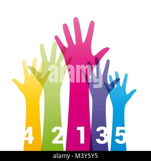 Il colore in alto le mani con i numeri Foto Stock
