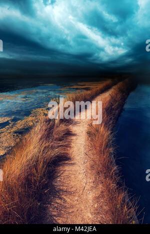 Incertezza, di dubbio e di insicurezza nel futuro. Rischiosa strada pedonale attraverso acqua vanishing in distanza, Foto Stock