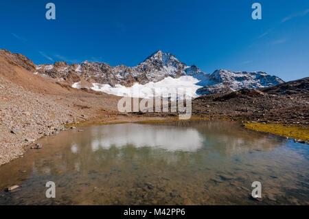 Corno dei Tre Signori e Sforzellina lago a Passo del Gavia, Valtellina, Lombardia, Italia