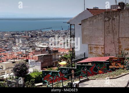 Ritratto greco della vita quotidiana a Salonicco Foto Stock