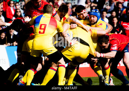 Madrid, Spagna. 18 Febbraio, 2018. I giocatori durante la partita di rugby di Rugby in Europa campionati internazionali tra la Spagna e la Romania all' Università Centrale Stadium il 18 febbraio 2018 a Madrid, Spagna. ©David Gato/Alamy Live News Foto Stock