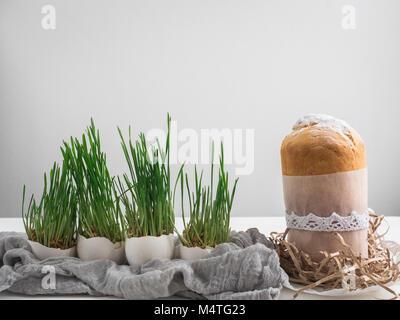 Tortina fragrante su uno sfondo di fresco, erba verde in vasi. Preparazione per la Pasqua Foto Stock