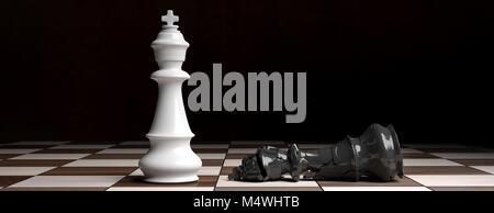 La vittoria di scacchi per il bianco. Scacchi bianchi re vincitore in piedi sulla scacchiera, re nero verso il basso Foto Stock