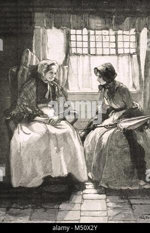 La regina Victoria visitando una vecchia donna nel suo cottage, Balmoral station wagon, Scozia, circa 1849 Foto Stock