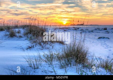 Un colorato tramonto sul seaoats e dune sulla Fort Pickens spiaggia nella Gulf Islands National Seashore, Florida.