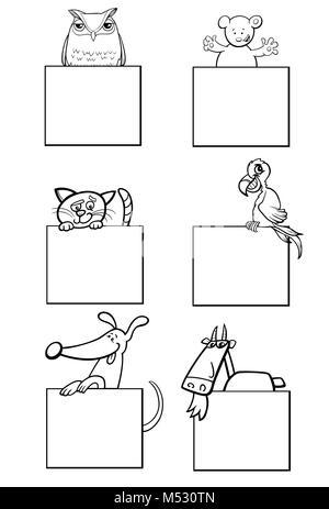 Gli animali con le carte in bianco e nero artwork Foto Stock