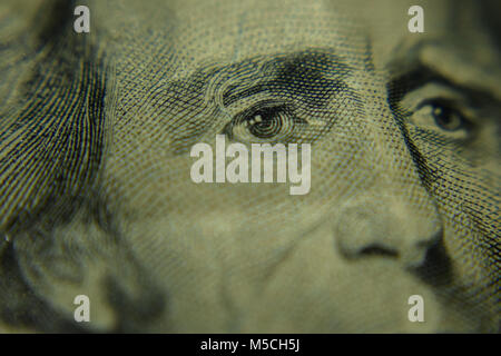 Venti Dollari di ripresa macro Foto Stock
