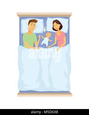 I giovani genitori e il bambino dorme - cartoon persone carattere illustrazione isolato su sfondo bianco. Un'immagine del padre e della madre nel letto con cu