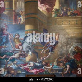 Eguene Delacroix il murale di Eliodoro pilotato dal tempio nella Cappella dei Santi Angeli Custodi nella chiesa Foto Stock