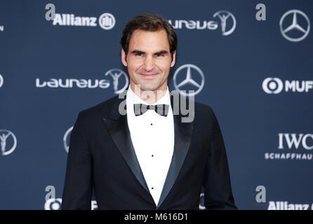 Il Principato di Monaco. Il 27 febbraio, 2018. Swiss giocatore di tennis Roger Federer arriva a 2018 Laureus World Sports Awards a Monaco il 27 febbraio 2018. Credito: Voi Pingfan/Xinhua/Alamy Live News