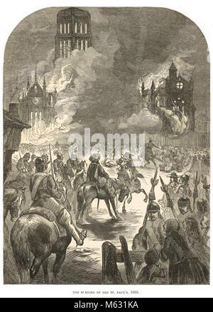 Vecchia Cattedrale di St Paul sul fuoco, il Grande Incendio di Londra, settembre 1666 Foto Stock