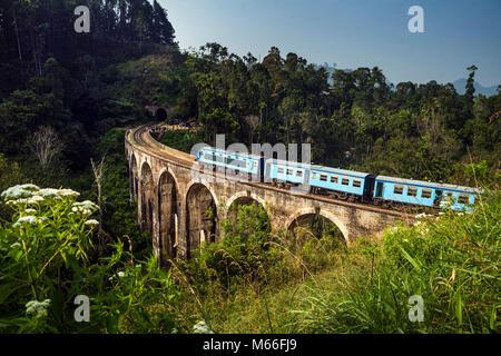 Treno che guida oltre il Nine Arch Bridge, Ella, provincia di uva, Sri Lanka