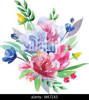 Mazzo Di Fiori Vector.Acquerello Bouquet Floreale Vector Clip Art Rosa E Fiori Blu Di