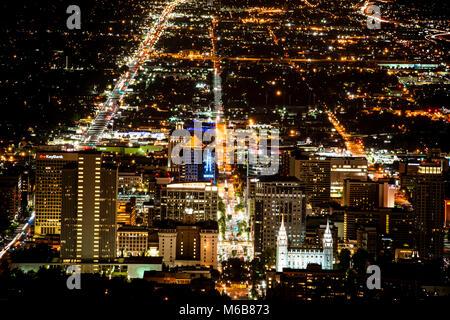Immagine notturna del centro cittadino di Salt Lake City Foto Stock