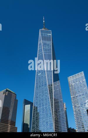 Architettura moderna presso il World Trade Center a New York City, Stati Uniti d'America Foto Stock