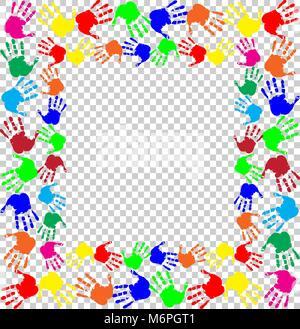 Brillante arcobaleno con telaio vuoto spazio copia di testo o di immagine e multicolori confine handprints isolato Foto Stock