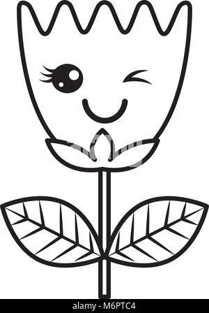 7df0c684bd ... Kawaii wink fiore foglie tulip cartoon illustrazione vettoriale di una  linea sottile design Foto Stock