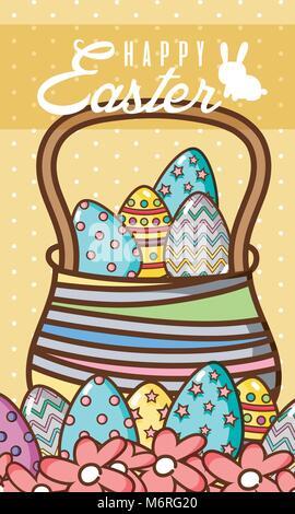 Felice Pasqua card con cestello egss Foto Stock
