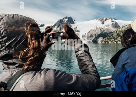 Whale Watching in Exit Glacier Foto Stock