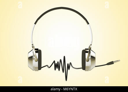 ... 3D rendering di cuffie professionali con cavo audio la formazione di  onde sonore Foto Stock b85c395d09bf