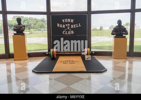 York Barbell pesi hall of fame in York PA Foto Stock
