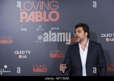 Madrid, Madrid, Spagna. 7 Mar, 2018. Javier Bardem assiste 'amante Pablo' Premiere a Callao cinema il 7 marzo 2018 Foto Stock