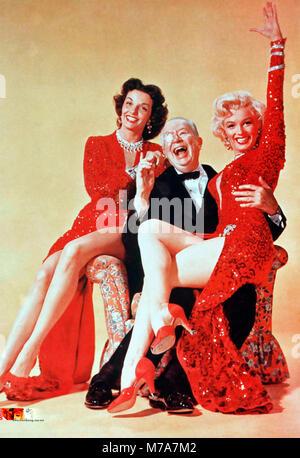 Colleghi preferiscono bionde 1953 XX Century Fox Film con da sinistra: Jane Russell, Charles Coburn, Marilyn Monroe Foto Stock