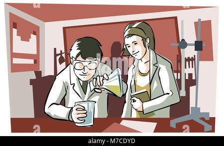 Close-up di due scienziati a lavorare in un laboratorio