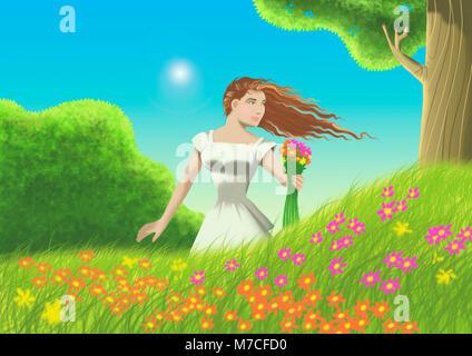Donna che mantiene un mazzo di fiori
