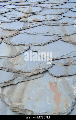 Sfondo rustico con texture di vecchie piastrelle di scisto Foto Stock