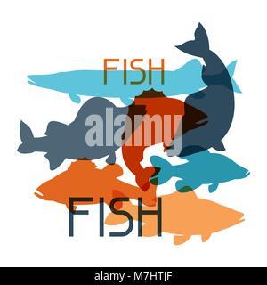 Sfondo con vari tipi di pesci. Immagine per opuscoli pubblicitari, banner, flayers, articolo e social media Foto Stock