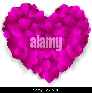 Grande cuore viola fatta di piccoli cuori isolati su sfondo bianco, simbolo dell'amore, la fedeltà e la gentilezza, Foto Stock