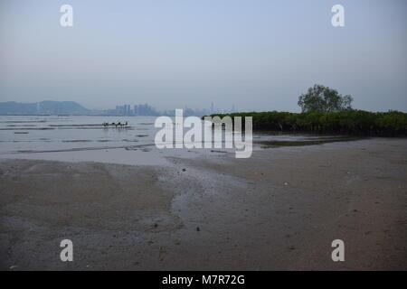 La Baia di Shenzhen e panorama visto da Nuovi Territori di Hong Kong