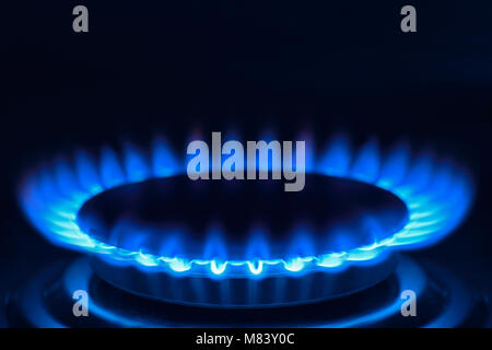 Piano di cottura a gas su un fornello, Close Up Foto Stock