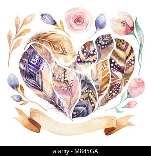 Acquerello disegnata a mano dipinti vibranti set di piuma. Stile Boho piume forma di cuore. Amore illustrazione Foto Stock